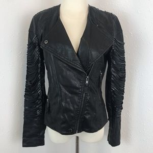 Blank NYC Faux Leather Drapes Fringe Moto Jacket S